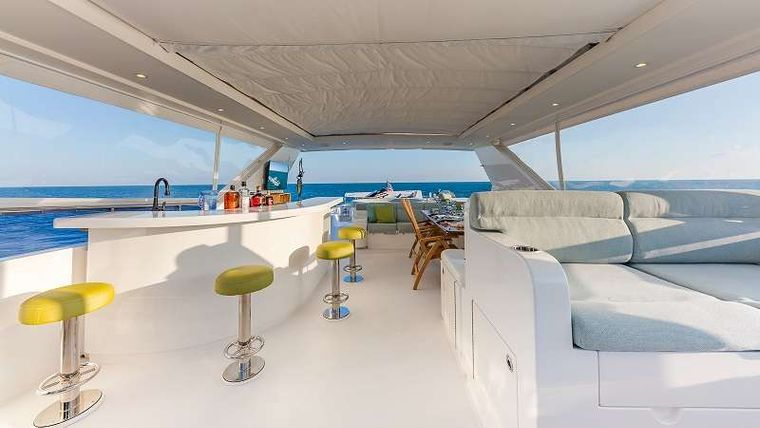 HIGH RISE Yacht Charter - Flybridge Looking Aft