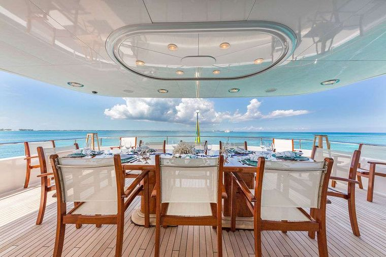AT LAST Yacht Charter - Bridge Deck Dining