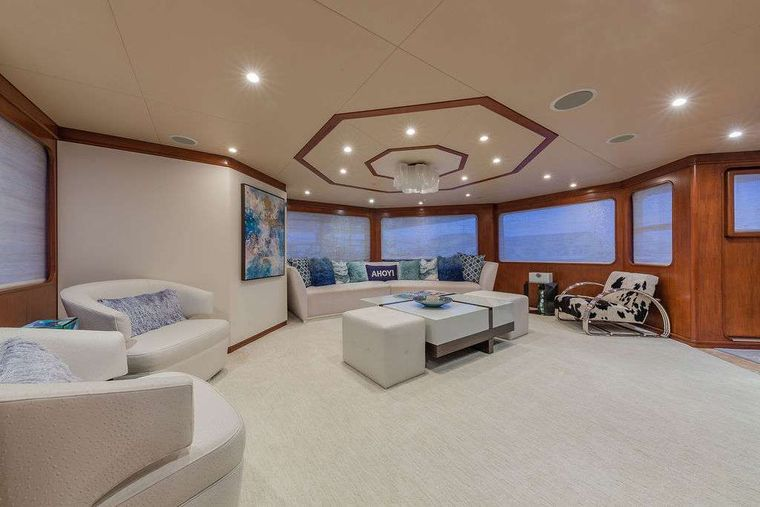 AT LAST Yacht Charter - Main Salon Looking Aft