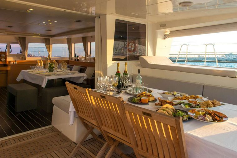 PRIMETIME Yacht Charter - Cockpit Dining - Day