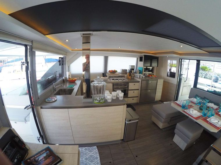 MOON BLOSSOM Yacht Charter - Overhead with doors to aft and forward cockpits