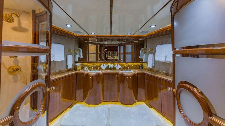QUINTESSA Yacht Charter - On Deck Master Stateroom Head (stairs lead down to this head)