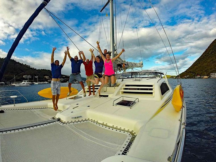 KUMA TOO Yacht Charter - Guests having a blast on the trampolines