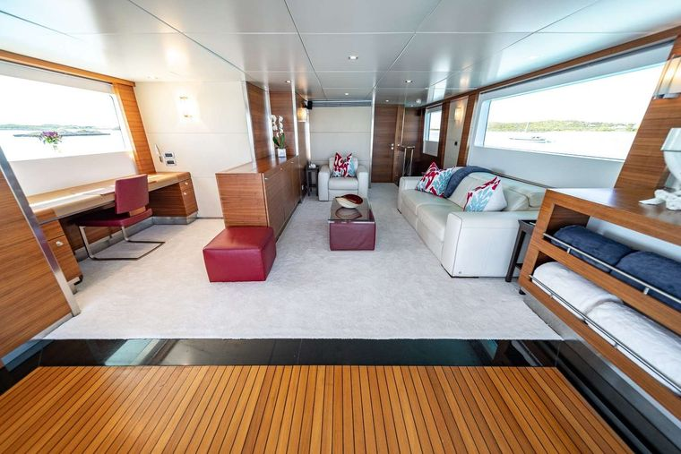 SEA AXIS Yacht Charter - Sky Lounge Looking Forward (Retractable TV)