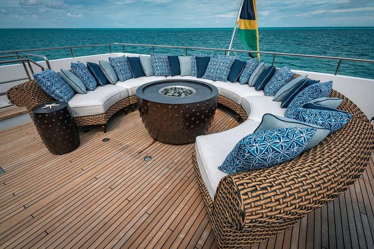 SEA AXIS Yacht Charter - Bridge Deck Lounging with Fire Pit