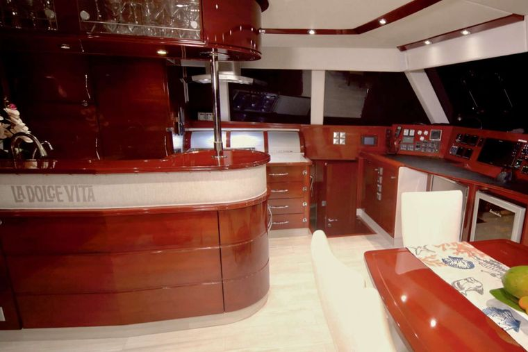 DOLCEVITACAT Yacht Charter - galley side of salon