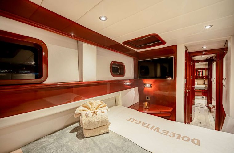 DOLCEVITACAT Yacht Charter - guest cabin looking out
