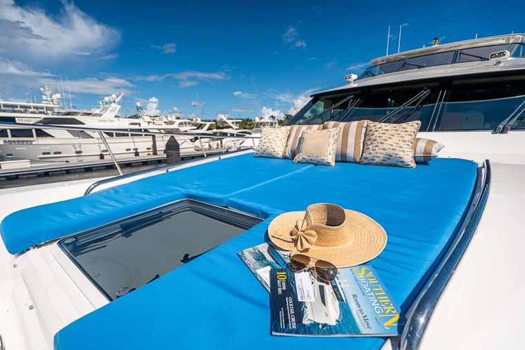 TRUE NORTH Yacht Charter - Bow with sun pads