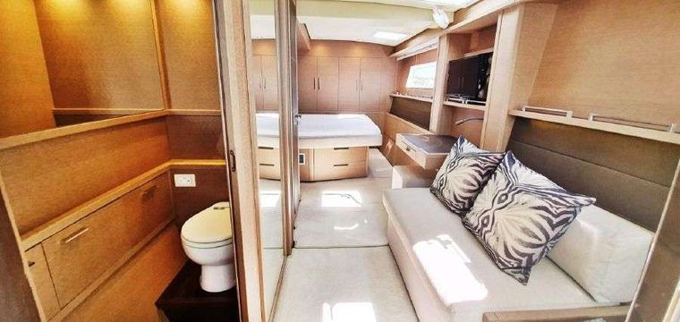 MARE BLU Yacht Charter - ...also showing bathroom area