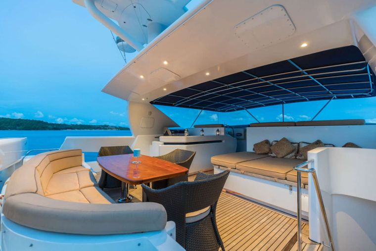 XANADU of LONDON Yacht Charter - Fly Bridge with Covered Seating