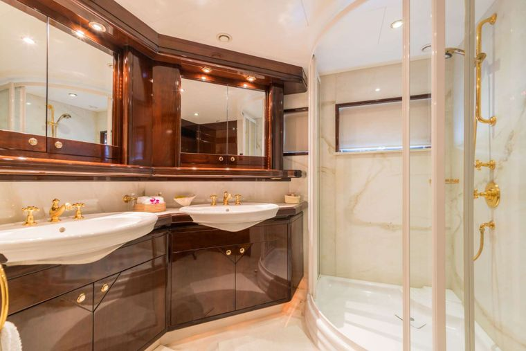 XANADU of LONDON Yacht Charter - Master Bathroom with Gold-Plated Fixtures