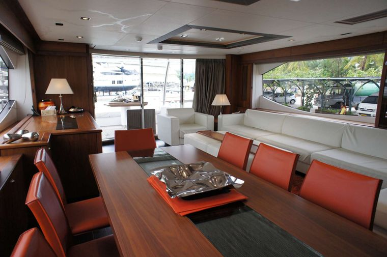 MAXXX Yacht Charter - Dining and Salon to main Aft Deck