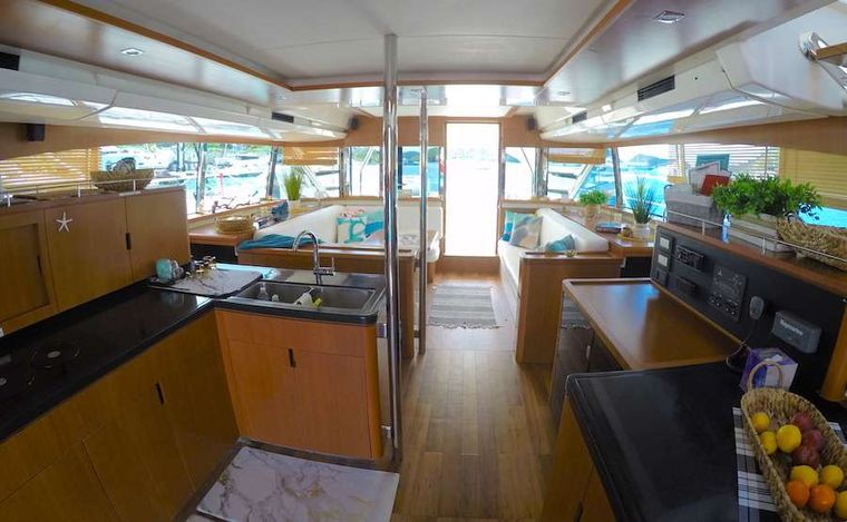 VYVO Yacht Charter - Galley looking forwad