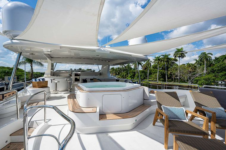Sweet Emocean Yacht Charter - Upper deck with removable shade