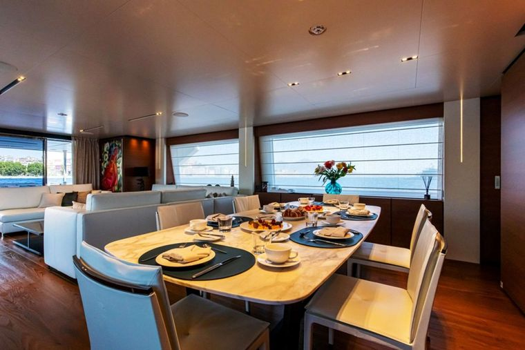 Penelope Yacht Charter - Salon formal dining zone
