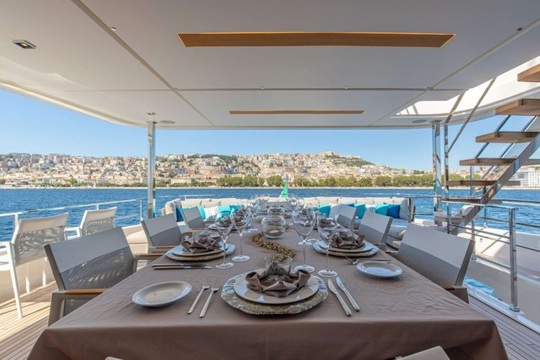 Penelope Yacht Charter - Upper deck al fresco dining table
