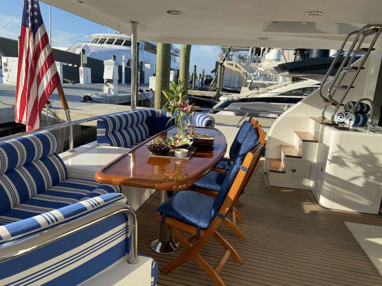 JusMad Yacht Charter - Aft Deck Dining