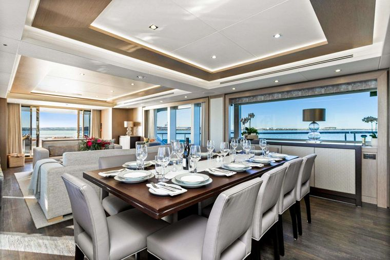 FRATELLI Yacht Charter - Dining Area on Main Deck