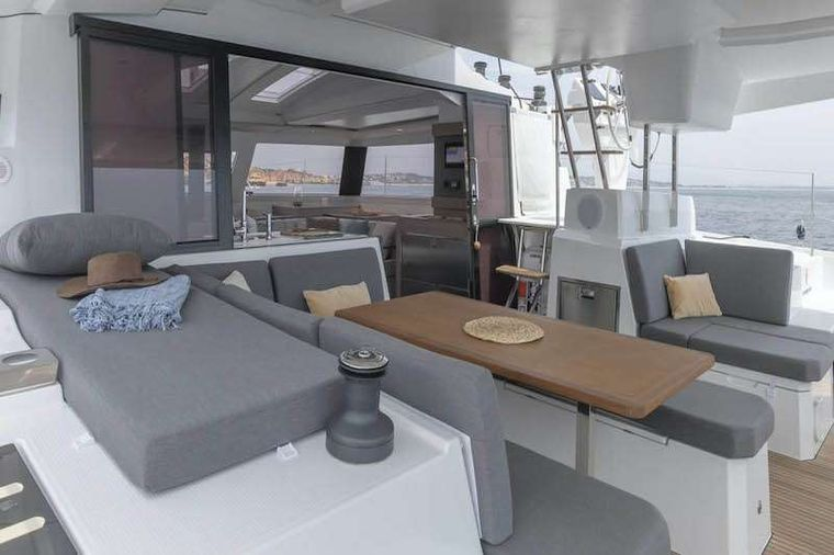 HERO'S JOURNEY Yacht Charter - Lounging area in Cockpit