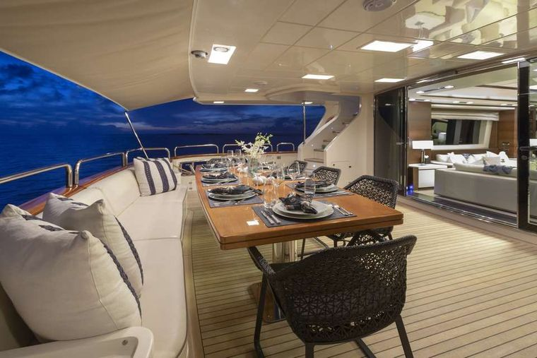 ANDIAMO! Yacht Charter - Main aft deck at night