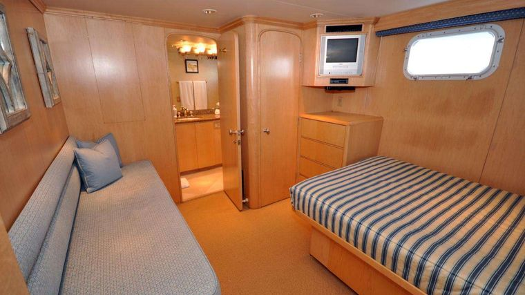 LUCKY STARS Yacht Charter - Guest stateroom aft view