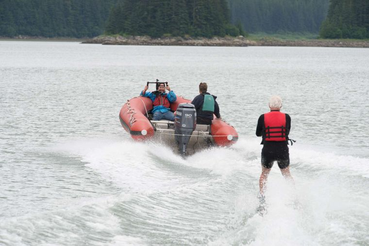 Snow Goose Yacht Charter - Water skiing in Alaska....really is an activity!