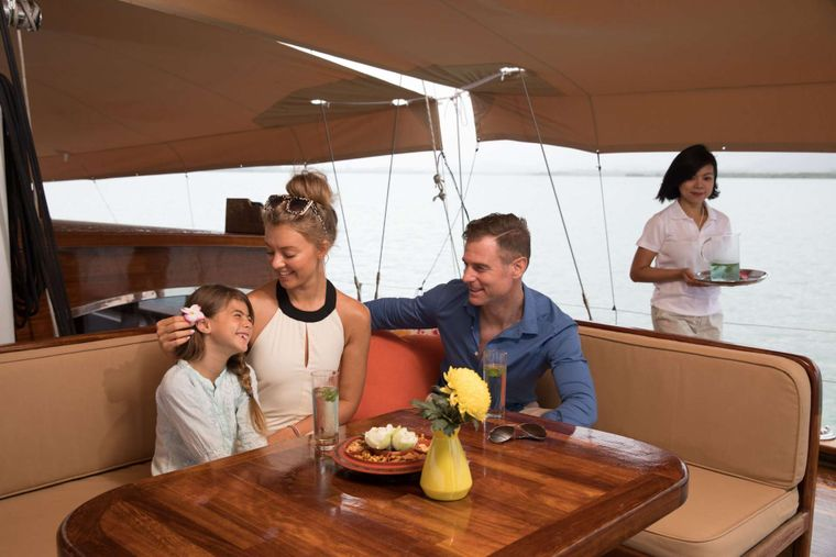 ORIENT PEARL Yacht Charter - Foredeck sofa with low table