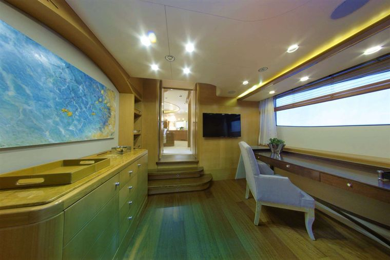 GRANDE AMORE Yacht Charter - Main Deck Office - Can be either connected or separated by Master Cabin