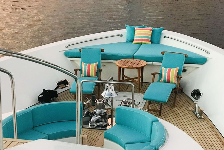Relentless 130 Yacht Charter - Bow seating and sunning