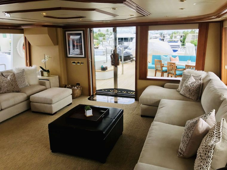 Relentless 130 Yacht Charter - Skylounge looking aft