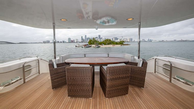 IV TRANQUILITY Yacht Charter - Dining on aft deck