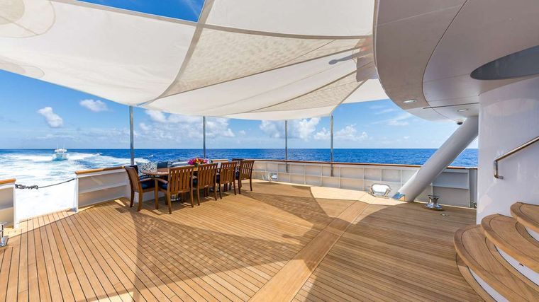 LADY S Yacht Charter - Aft Deck Dining Area