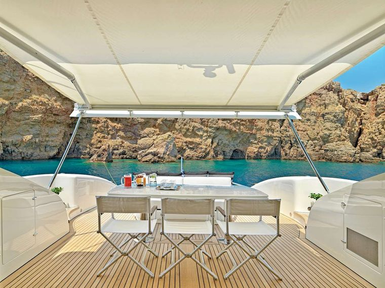 RUBY Yacht Charter - Aft deck shade