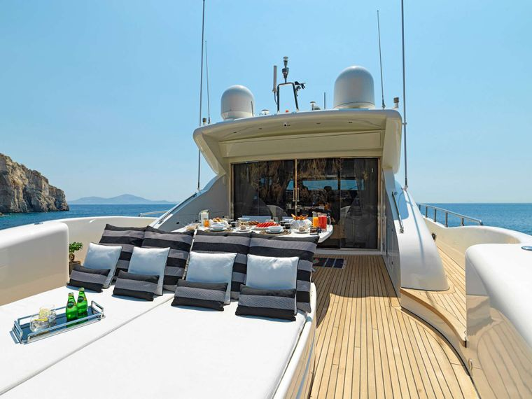 RUBY Yacht Charter - Aft deck relaxation