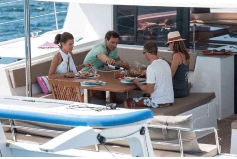 Sol Mates Yacht Charter - Cockpit dining area