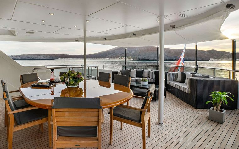 ODYSSEA Yacht Charter - Owners Deck Dining