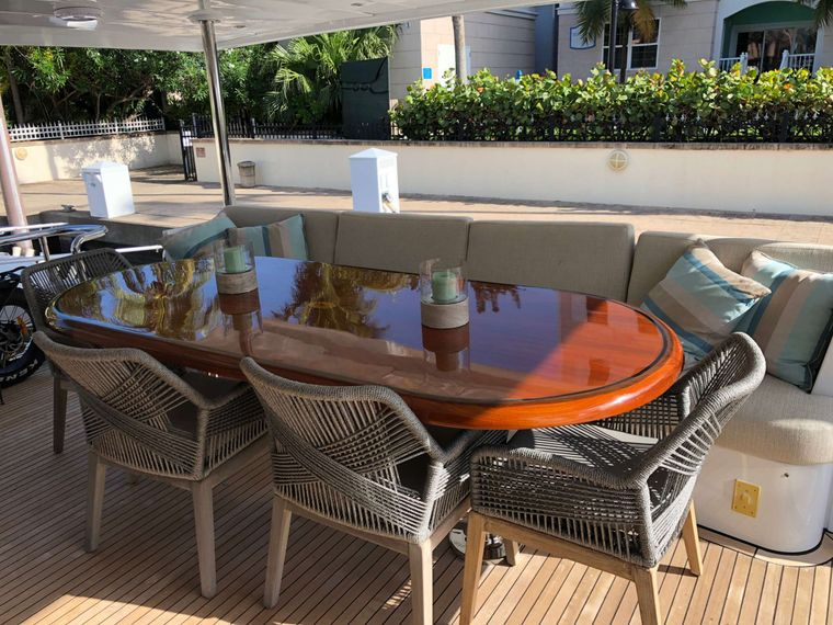 TORTUGA Yacht Charter - Aft deck dining