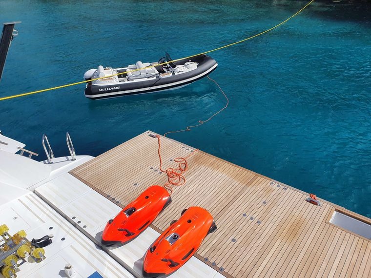 BASH II Yacht Charter - Toys include 4.5m Tender, Seadoo Fishpro Jetski and two Seabobs