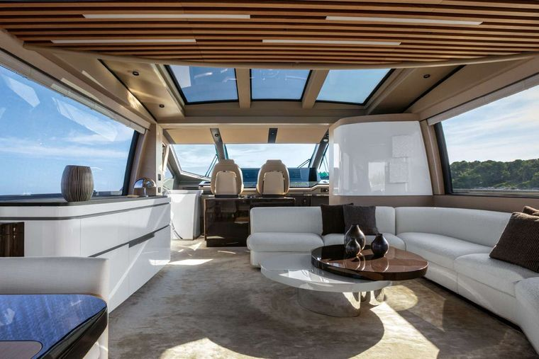 BASH II Yacht Charter - Spacious Lounge with full wifi, TV and bar area