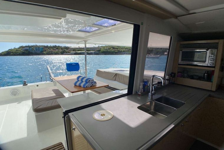 IREMIA Yacht Charter - Open access between galley to the Cockpit