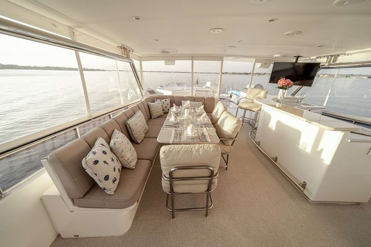 DARK HORSE Yacht Charter - Flybridge Bar with TV