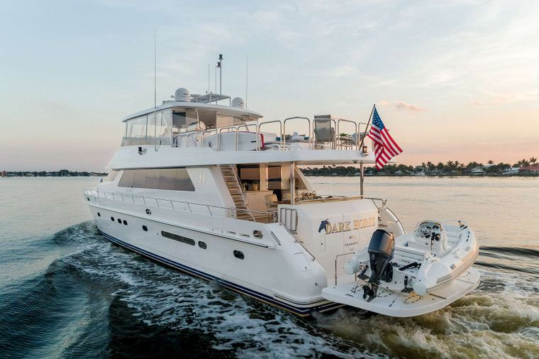 DARK HORSE Yacht Charter - Exterior Aft with Tender