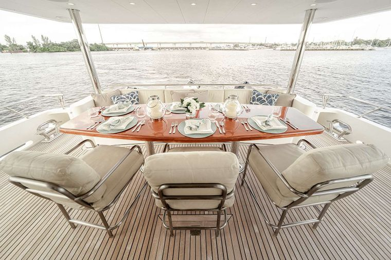 DARK HORSE Yacht Charter - Aft Deck Dining for 6-8 Guests