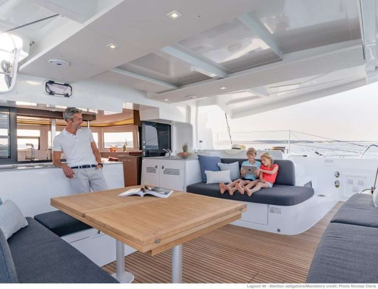 KING VIVI Yacht Charter - Aft outer cockpit and dining table