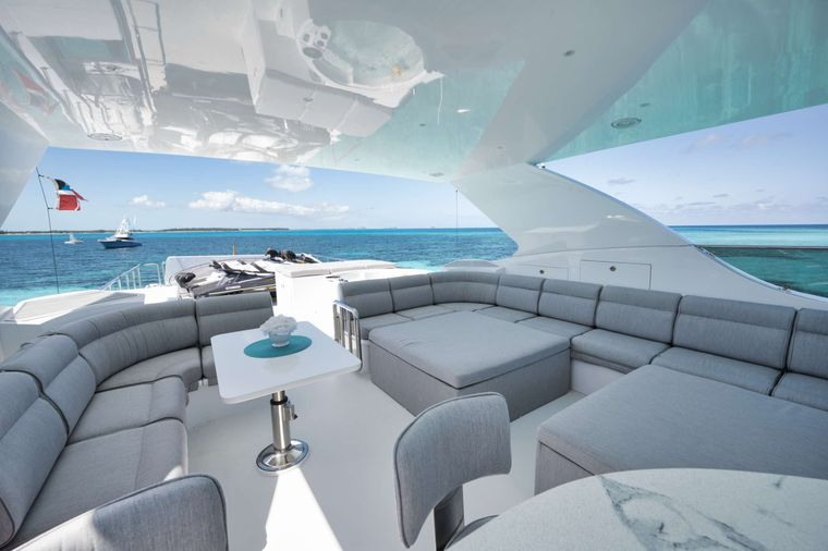 LIMITLESS Yacht Charter - Flybridge Looking Aft