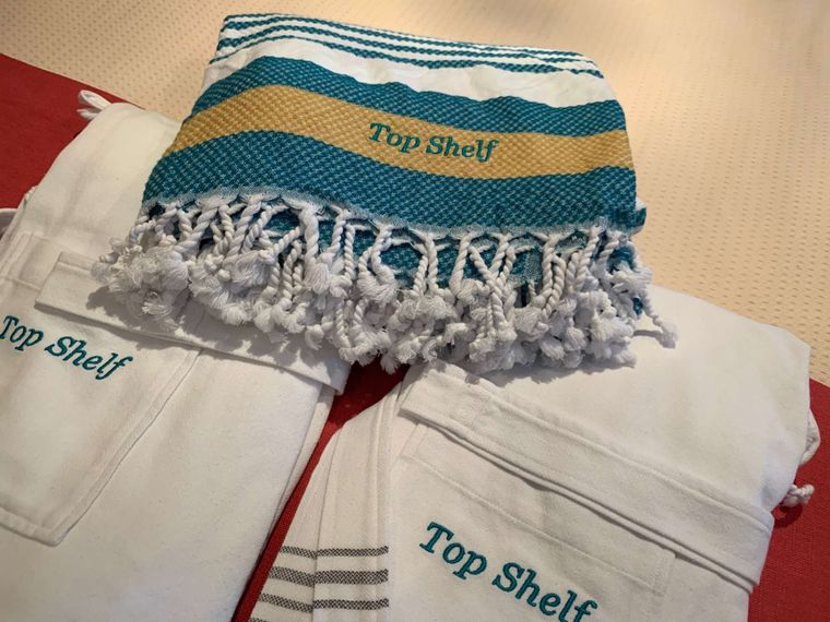 TOP SHELF Yacht Charter - personalized robes and Turkish towels