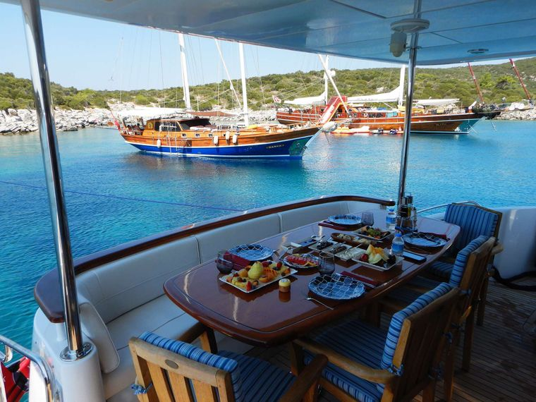 TOP SHELF Yacht Charter - Aft deck dining and cockpit