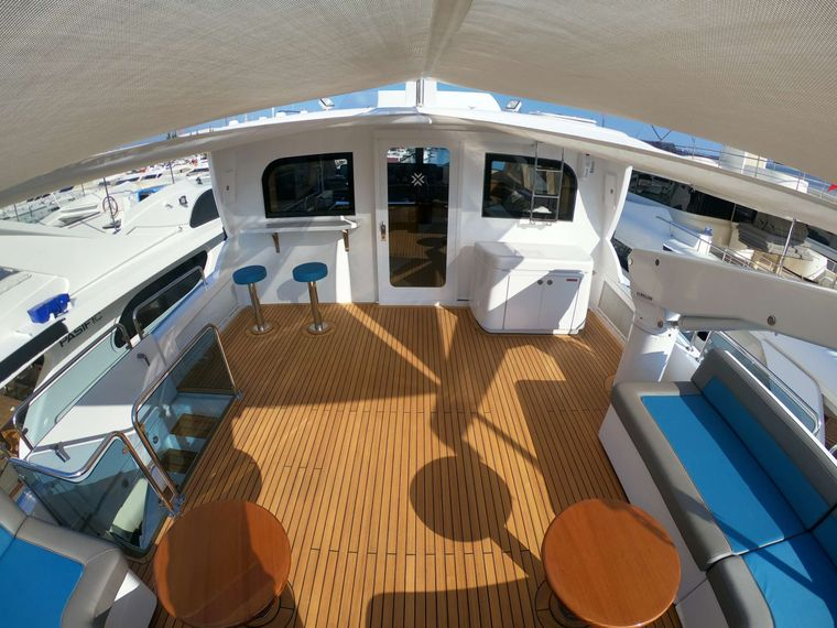 TOP SHELF Yacht Charter - Flybridge aft with awnings