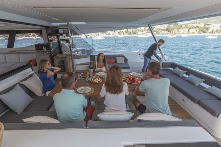 ASTORIA Yacht Charter - Aft seating and dining area