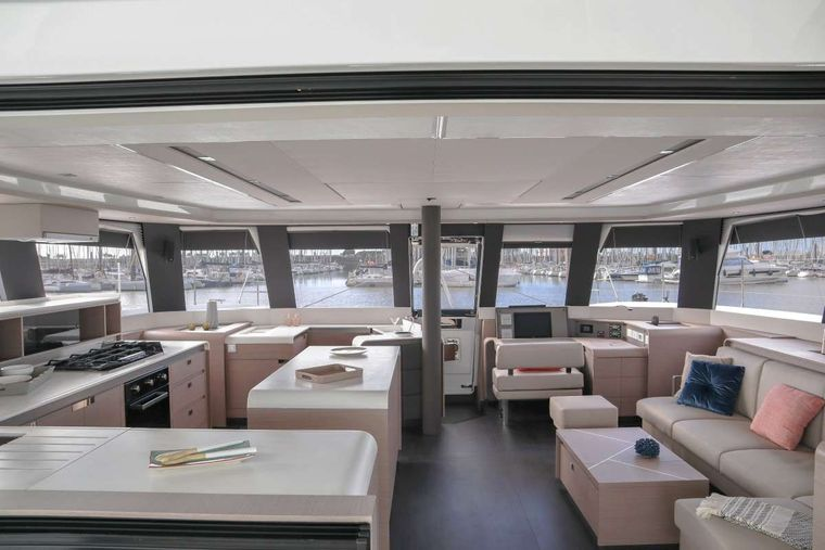ASTORIA Yacht Charter - Large Saloon with straight walk through to fore deck